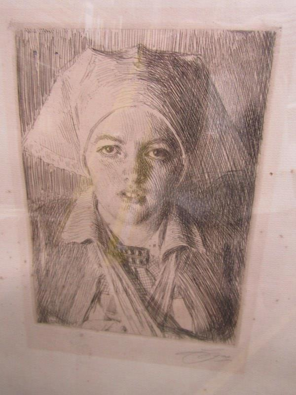 """ANDERS ZORN, pencil signed etching """"Gulli II"""", 8"""" x 5.5"""" - Image 2 of 4"""