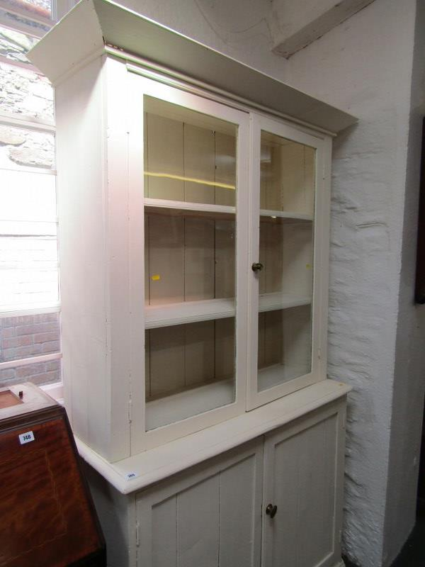 "PAINTED GLAZED KITCHEN DRESSER, twin cupboard base, 43"" width - Image 2 of 3"