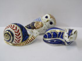 ROYAL CROWN DERBY PAPERWEIGHTS, collection of 3 comprising of Snail, Fox and an Owl