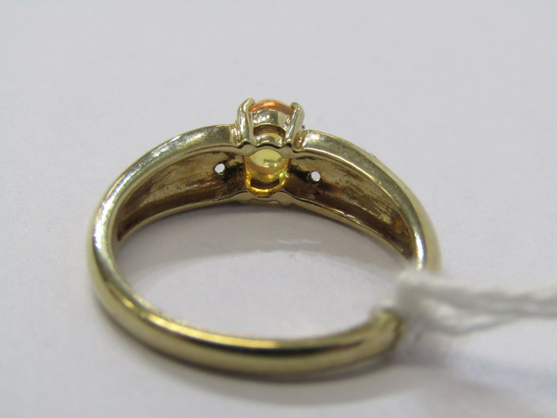 9CT YELLOW GOLD JELLY OPAL SOLITAIRE RING, principal oval cabochon cut jelly opal with diamonds to - Image 3 of 3