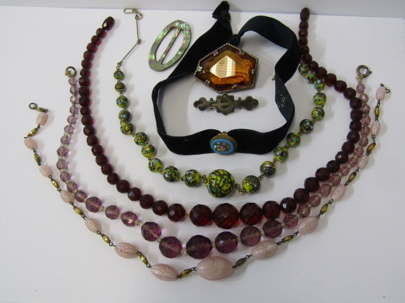 COSTUME JEWELLERY, selection of vintage costume jewellery including beads, ribbons etc.