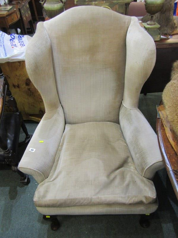 WING ARMCHAIR, Georgian style upholstered wing armchair on cabriole legs