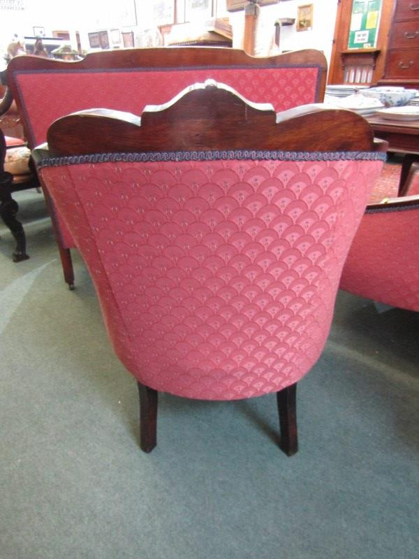 PAIR OF WALNUT MARQUETRY TUB ARMCHAIRS AND MATCHING 2 SEATER SETTEE - Image 4 of 4