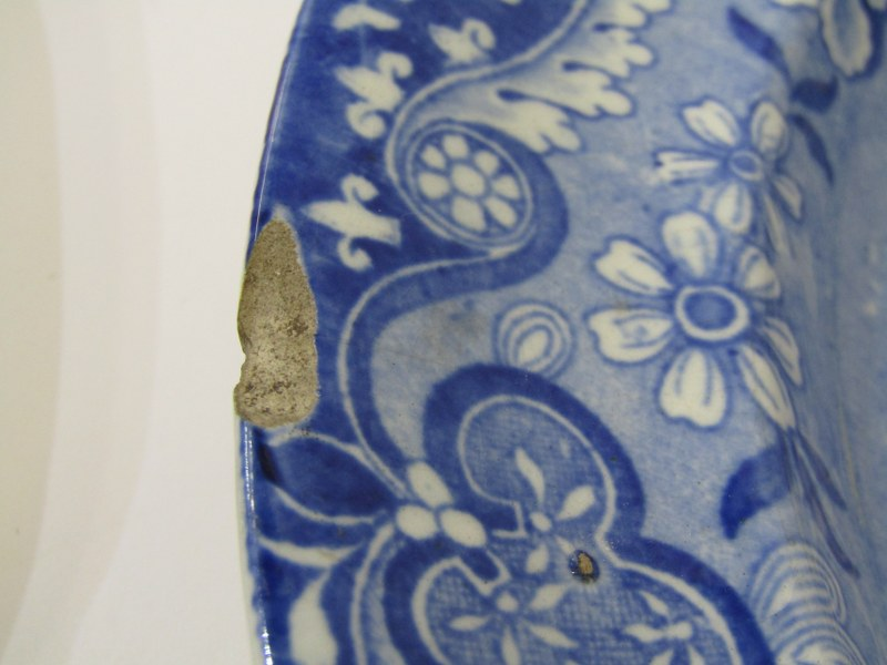 """ANTIQUE WELSH POTTERY BLUE TRANSFERWARE, set of 6 """"Gateway"""" pattern 10"""" plates by Baker, Evans and - Image 3 of 5"""