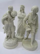 PARIAN, collection of 3 Victorian Continental Parian figures of Harvester, Boy giving Young Girl a