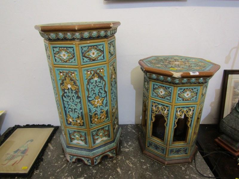 "MAJOLICA GARDEN SEATS, 2 Minton-style Persian design octagonal garden seats, 1 25"" height, other"
