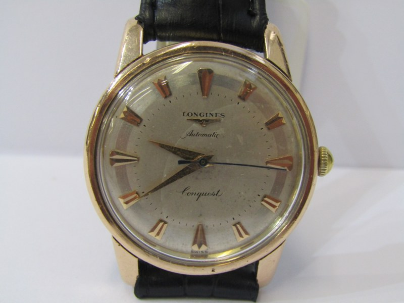 GENTLEMAN'S LONGINES CONQUEST AUTOMATIC WRIST WATCH on black leather strap, serial no 9767092,