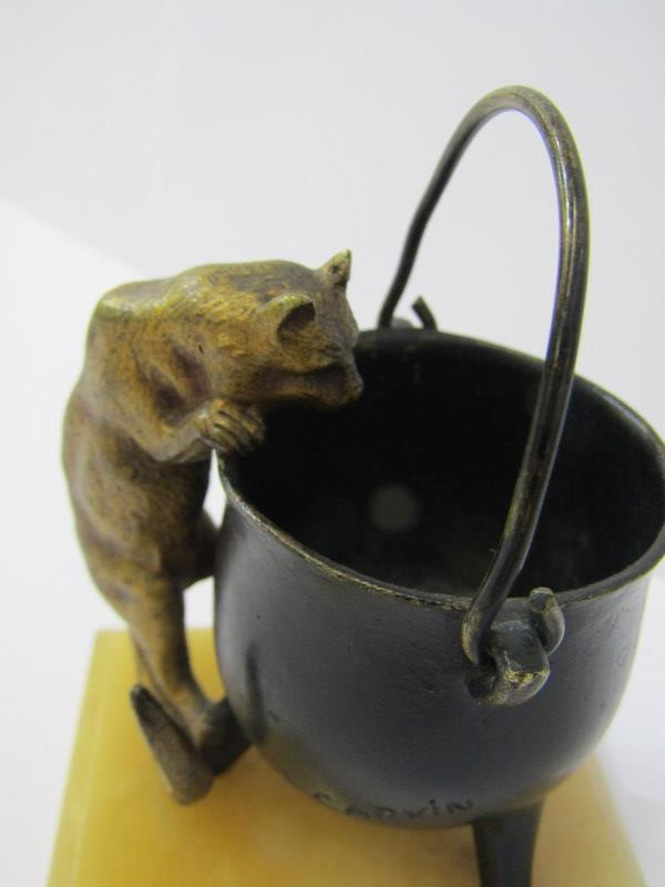 LOUIS CARVIN, early 20th Century bronze study of cat climbing up the side of a pale on an onyx base, - Image 2 of 4