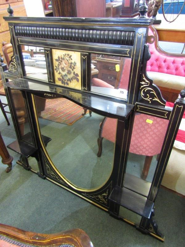 """EDWARDIAN GILT EBONISED OVERMANTEL, floral painted inset panel with bracket shelf details, 47"""""""