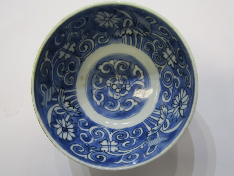 "ORIENTAL CERAMICS, early underglaze blue 5.5"" deep bowl decorated with floral and foliate design, - Image 4 of 8"