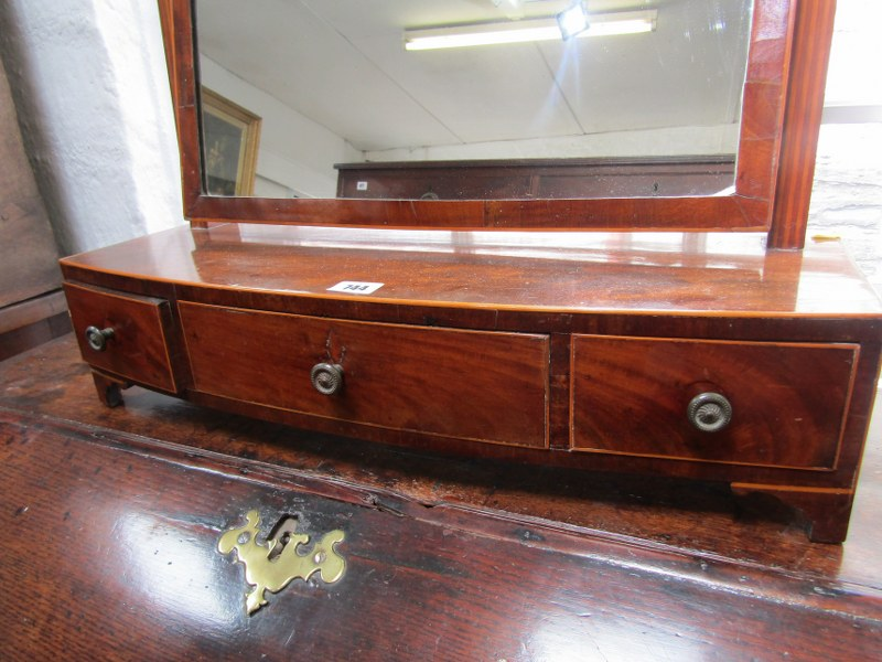 LATE GEORGIAN BOW FRONTED SWING DRESSING MIRROR, inlaid mahogany triple drawer base with rectangular - Image 2 of 2