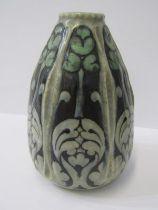 "DOULTON STONEWARE, hexagonal shaped ""Arabesque"" design tapering 5.5"" vase, signed F.C.P."
