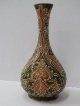 """MACKINTYRE, """"Florian Ware"""" 8"""" baluster vase, signed by Moorcroft, registration no 326689"""