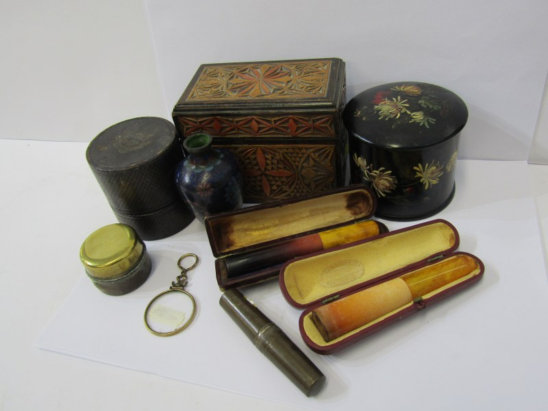 """CLOISONNE, a small cloisonné vase of bluster form, 3"""", a boxed medicine glass, a travelling ink"""