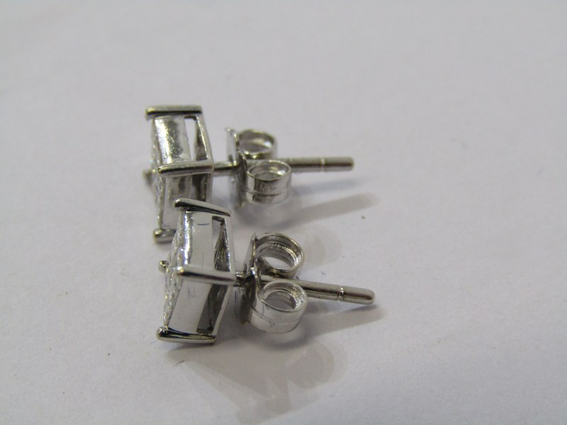 PAIR OF 18ct WHITE GOLD DIAMOND SQUARE FORM CLUSTER EARRINGS, each earring containing 9 well matched - Image 2 of 2
