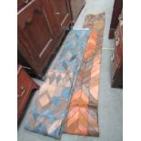 LEATHER PATCHWORK WALL HANGINGS, 2 leather & suede patchwork wall hangings by Loseberry