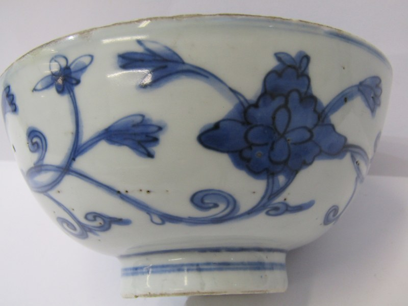 "ORIENTAL CERAMICS, early underglaze blue 5.5"" deep bowl decorated with floral and foliate design, - Image 2 of 8"