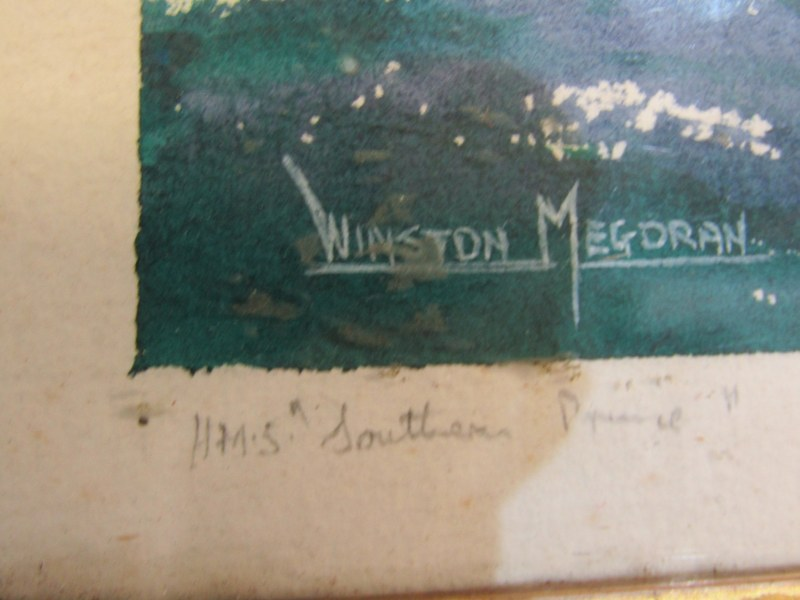 "SHIP PORTRAIT, Winston Megoran, signed watercolour, ""HMS Southern Pride"", 11"" x 16.5"" - Image 2 of 2"