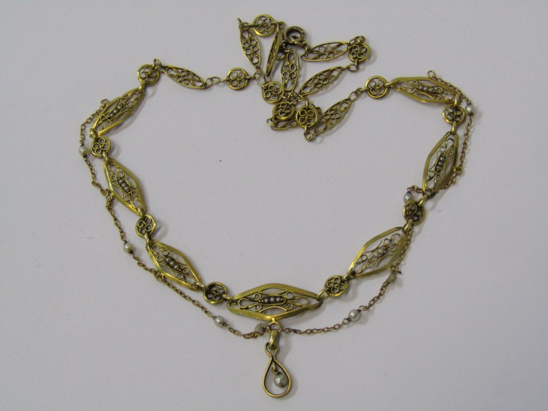 GOLD FILIGREE WORK SEED PEARL SET NECKLACE