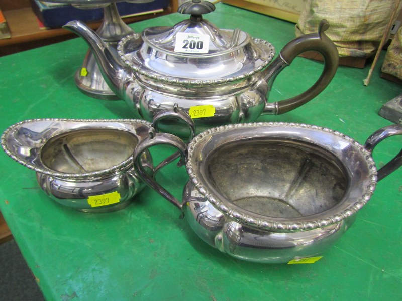 SILVER PLATE, 6 bottle condiment set on plated stand with etched glass decoration, together with 3 - Image 2 of 3