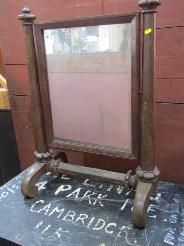 VICTORIAN DRESSING MIRROR, early 19th Century mahogany swing dressing mirror with tapering octagonal