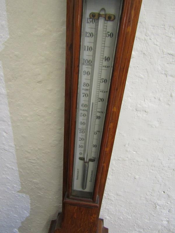 "VICTORIAN BAROMETER, oak case mercury stick barometer by Husbands of Bristol, 38"" height - Image 3 of 3"