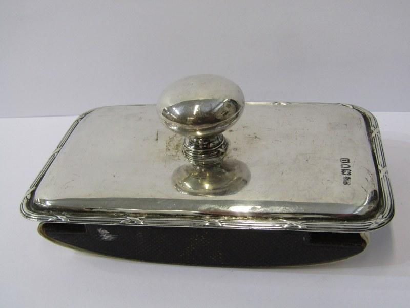 """SILVER BACKED DESK BLOTTER, maker C & Co London, 1915, 5.5"""" (14cm) length"""