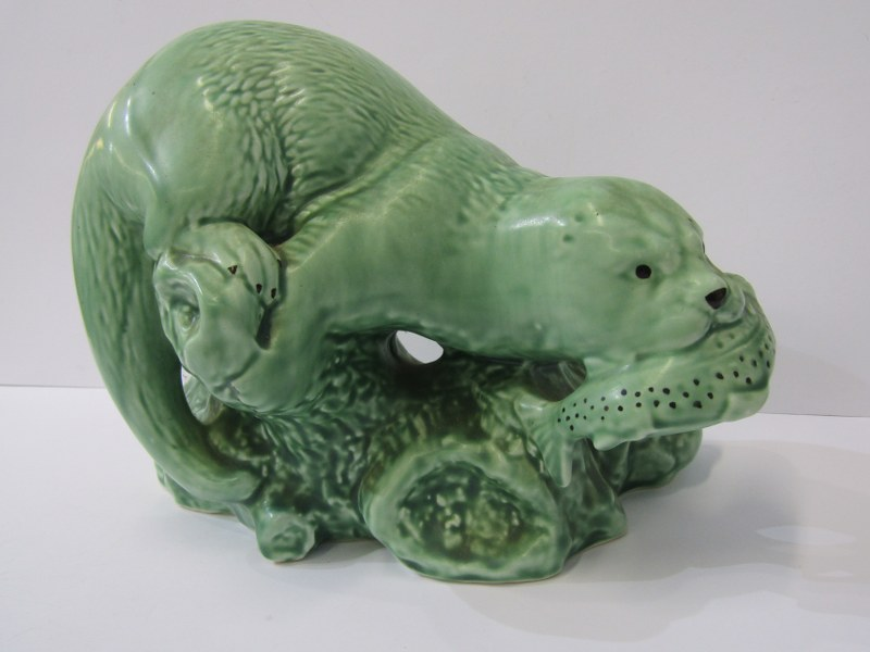 """SYLVAC, green glazed Otter, mould no 3459, 7.5"""" height"""