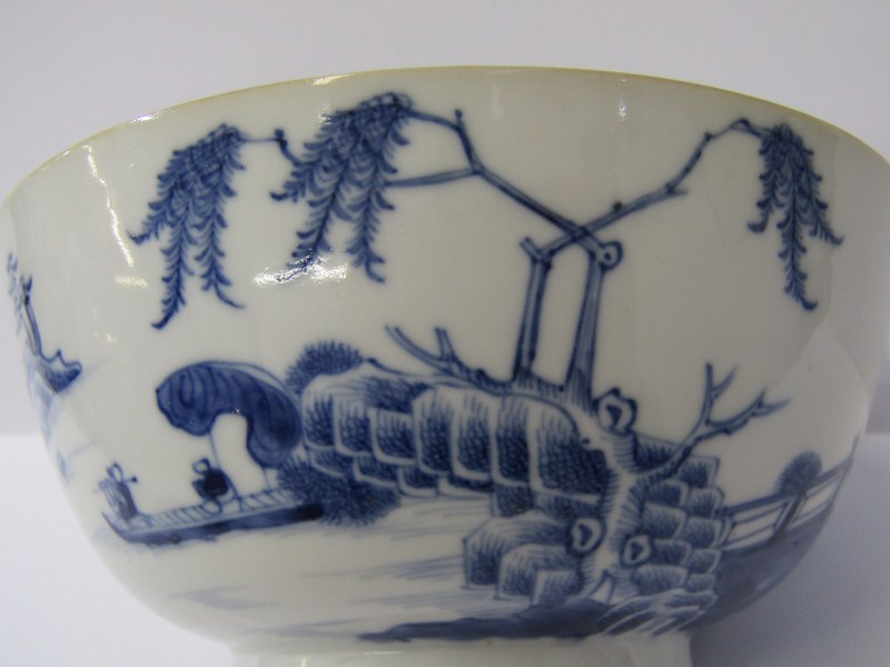 "ORIENTAL CERAMICS, underglaze blue 6"" circular bowl decorated with panoramic riverscape and interior - Image 3 of 8"