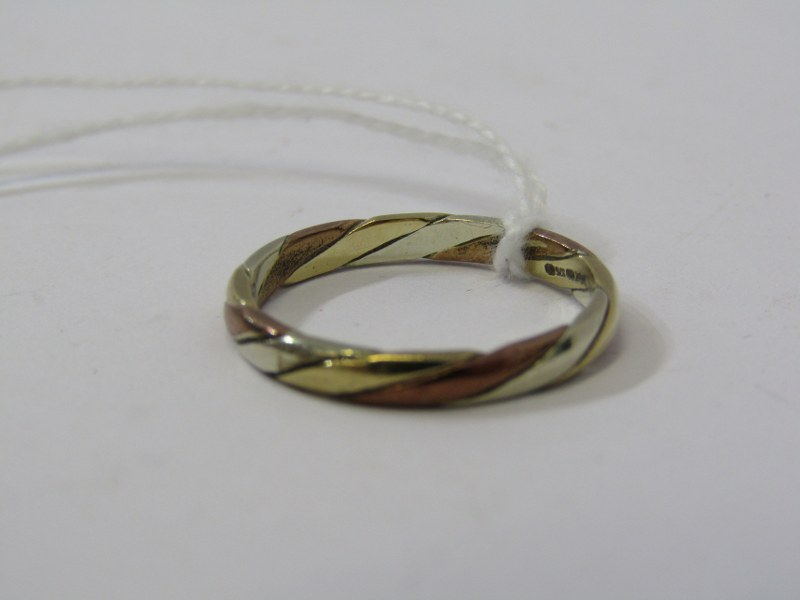 9ct 3 TONE YELLOW, WHITE & ROSE GOLD BAND RING, approx 2.3 grams, size P - Image 2 of 3