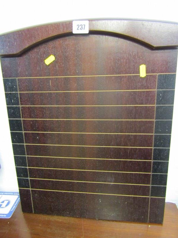 "GAMING, mahogany shove halfpenny board, 19"" height"
