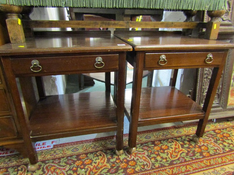 """PAIR OF MAHOGANY BEDSIDE TABLES, frieze drawers with open shelf bases, 20"""" width"""