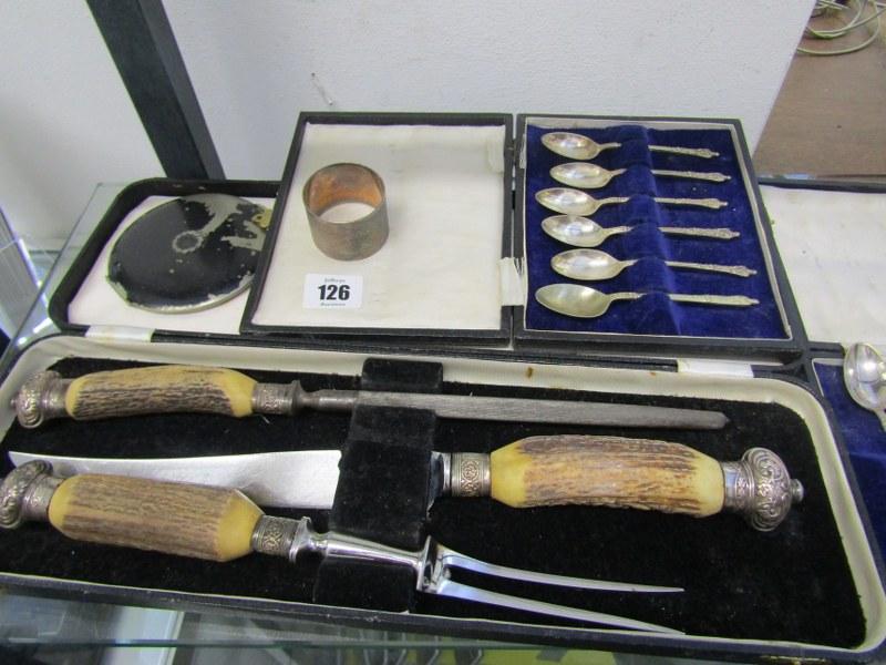 CUTLERY, cased antler handled carving set, HM silver serviette ring, vintage compact & 2 sets of - Image 2 of 2