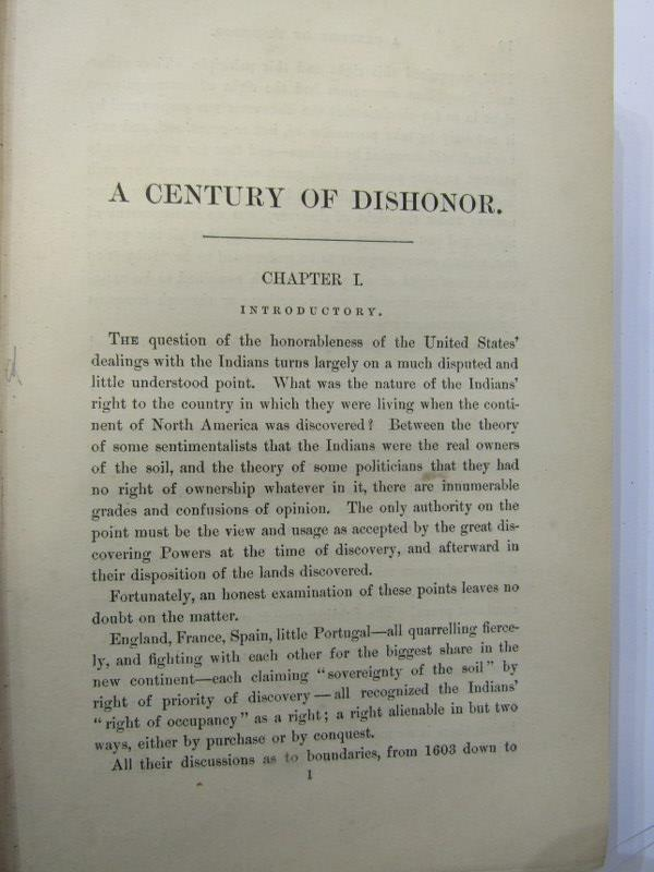 "HELEN HUNT JACKSON, ""A Century Of Dishonour"", circa 1881, title page missing & original cloth - Image 3 of 5"