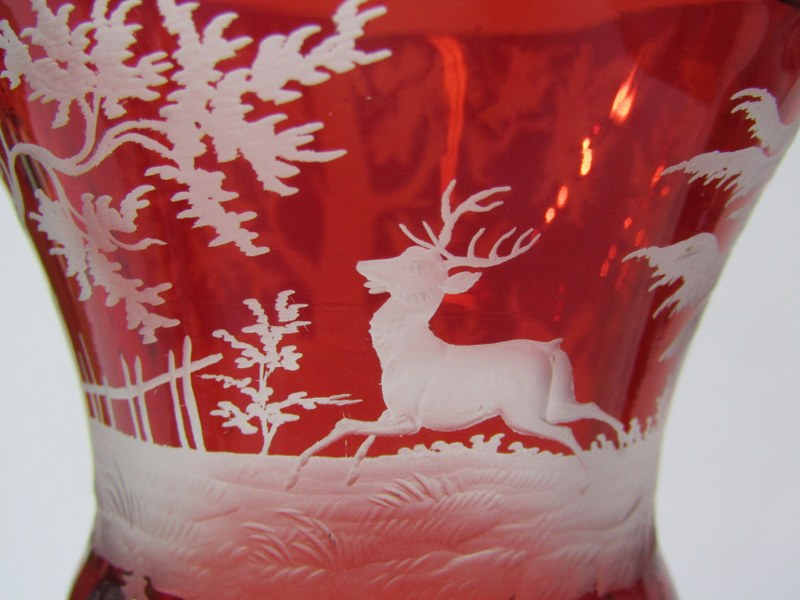 BOHEMIAN GLASS, pair of 19th Century etched ruby glass goblets, with decorated with stag hunts - Image 3 of 5