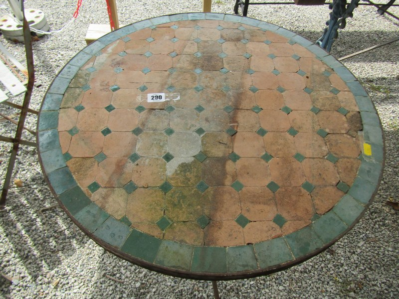 "ANTIQUE BISTRO TABLE, with tiled top on a metal 3 legged base, 24"" diameter - Image 2 of 2"