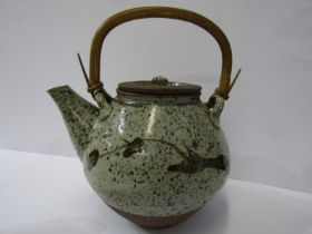 BERNARD LEACH POTTERY, glazed stonware teapot by Kenneth Quick, with cane handle and simple