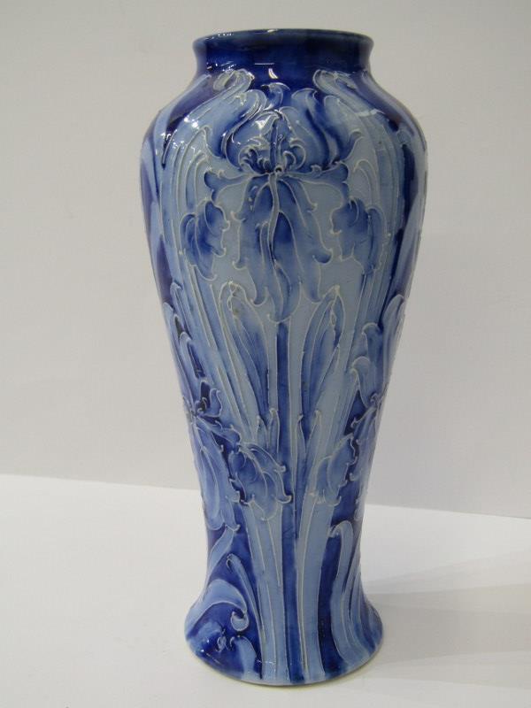"MACINTYRE, ""Florian Ware"" blue ground inverted baluster 7"" vase, signed W. M., pattern no 1059"