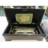"MUSICAL BOX, rosewood marquetry cased muscial box with 10 tune mechanism, 21"" width, decorated"