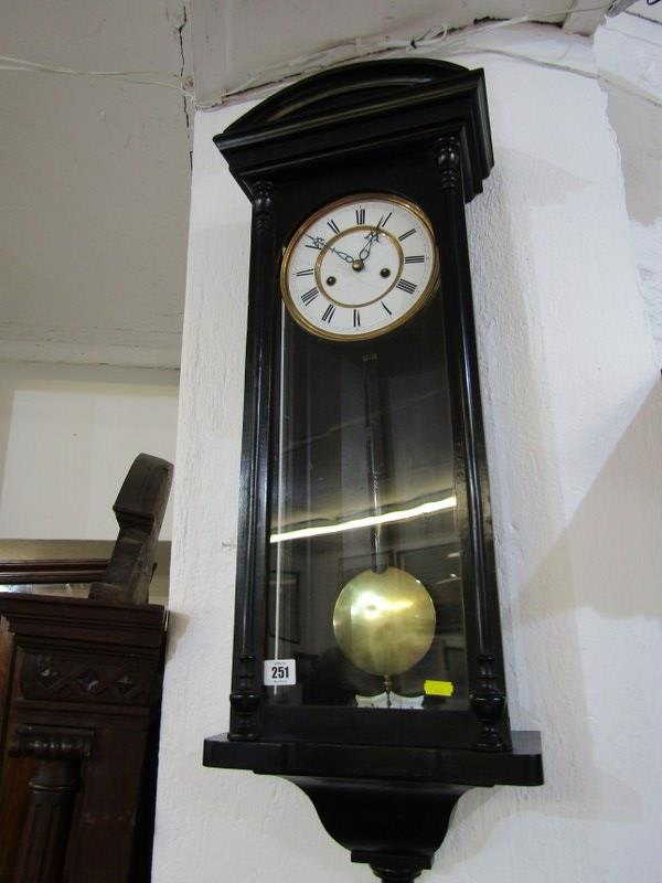 "REGULATOR CLOCK, ebonised case narrow bodied regulator clock with enamelled face, 33"" height - Image 2 of 2"