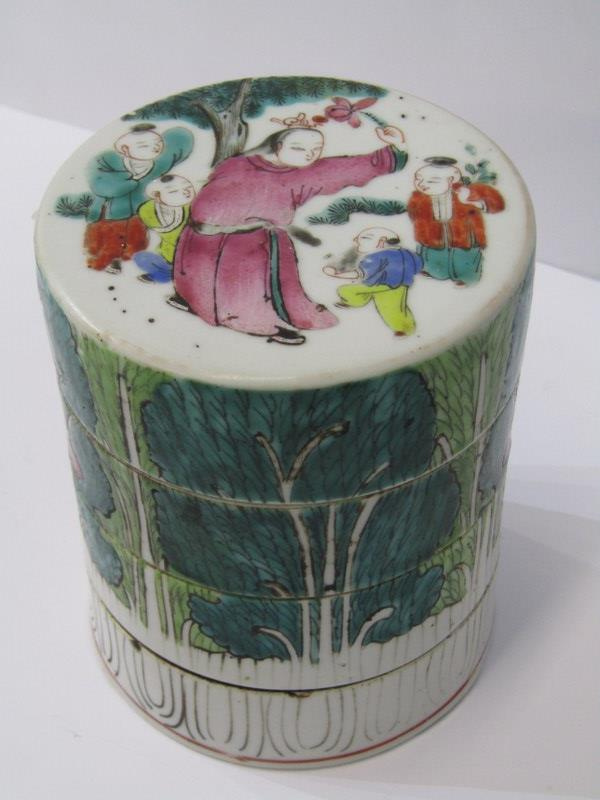 """ORIENTAL CERAMICS, Famille Verte 4 tier cylindrical stacking jar decorated with children playing, 4"""""""