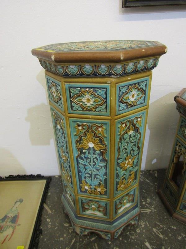 "MAJOLICA GARDEN SEATS, 2 Minton-style Persian design octagonal garden seats, 1 25"" height, other - Image 2 of 7"