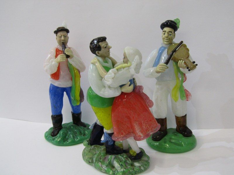 CZECHOSLOVAKIAN GLASS, an interesting collection of 8 coloured glass figures depicting village - Image 4 of 4