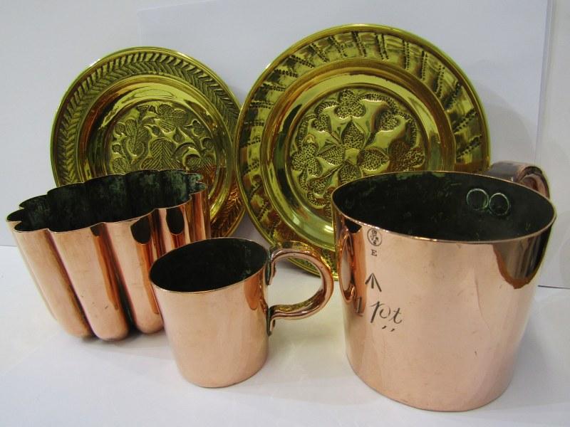 "ANTIQUE METALWARE, copper fluted body gelatine mould, 5"" dia, a pair of antique design miniature"