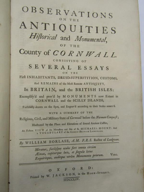 """WILLIAM BORLASE """"Observation On the Antiquities... Of The County Of Cornwall"""", 1754, in period - Image 2 of 2"""