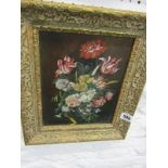 "STILL LIFE, oil on board ""Dutch Style Still Life - Vase of Flowers"", signed Van Jakob, 9.5"" x 7"""