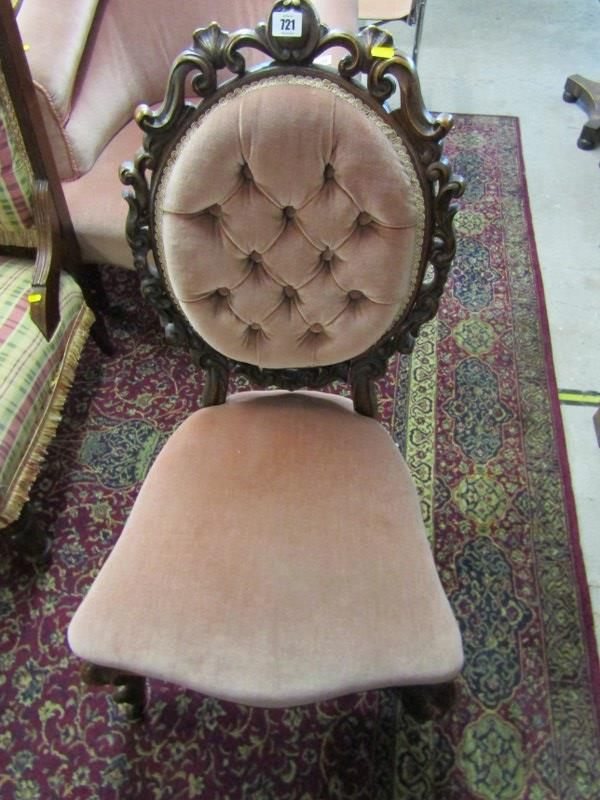 VICTORIAN SPOONBACK NURSING CHAIR, shell and foliate carved surround with serpentine fronted seat