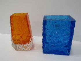 """WHITEFRIARS, tangerine glass vase, 5"""" height, also Kingfisher blue scupltured glass rectangular"""