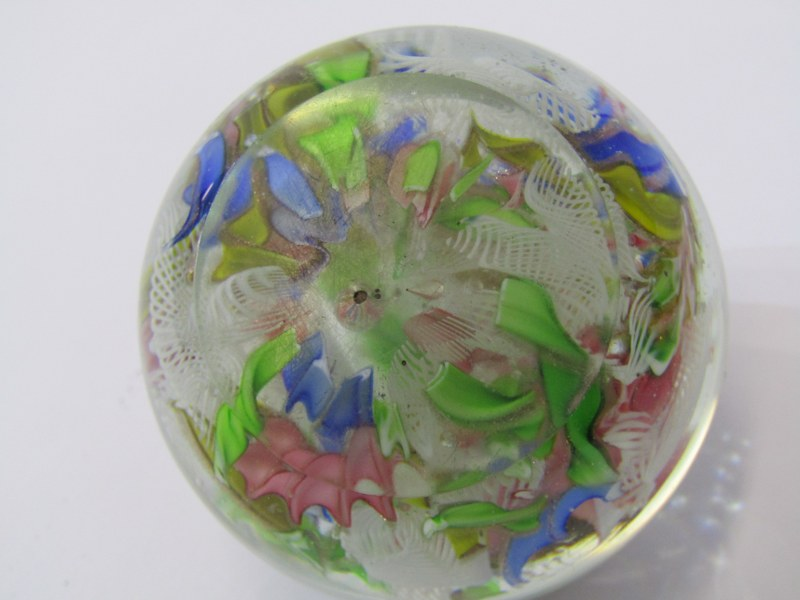 """ANTIQUE GLASS PAPERWEIGHT, scrambled cane design, 2.5"""" dia, some surface scratches - Image 3 of 3"""