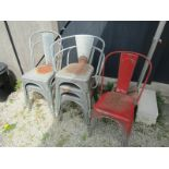 VINTAGE METAL STACKING CHAIRS, 6 assorted galvanised garden chairs